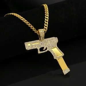 "Other - 14k Gold Gun Pistol Pendant Necklace 28"" Chain"